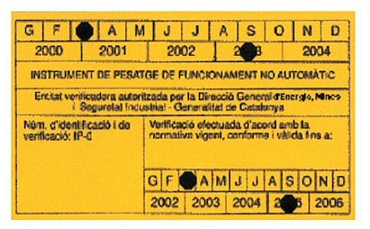 verificació dels instruments de pesatge